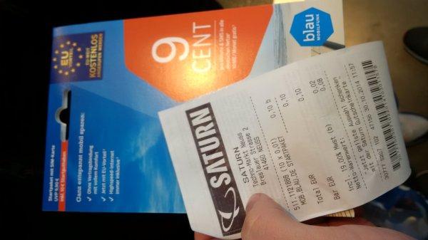 *Lokal* Blau.de Start Paket für 0,01 € bei Saturn Rhein-Park Center Neuss