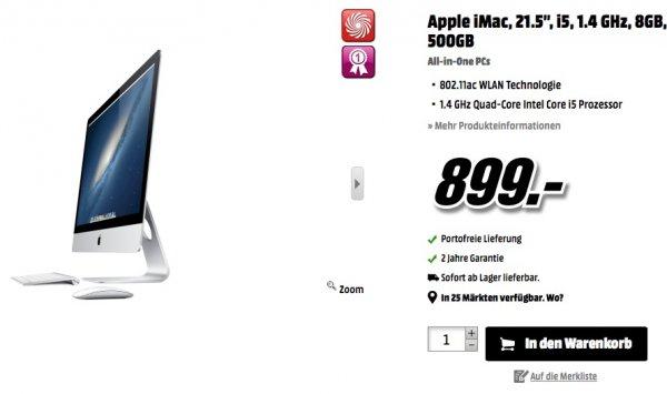 """[Schweiz - MediaMarkt] Apple iMac 21.5"""" / 1.4GHz Core i5 / CH-Tastatur für 745 EUR (plus/minus Steuern)"""