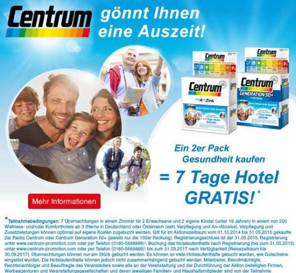 2 Packungen Centrum 100 Stück kaufen - 7 Tage Hotel Aufenthalt gratis (nur Übernachtung im DZ)