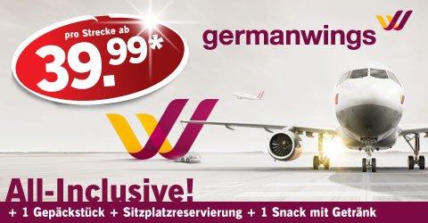 Germanwings-Flüge inkl. Gepäck + Sitzplatzreservierung + Snack mit Getränk ab 39,99€ @Lidl Reisen