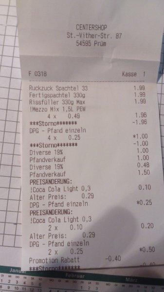 [Centershop Prüm] 4X1,5l Coke, MezzoMix, Fanta, ... für 1€ zzgl. Pfand (kurzes MHD)