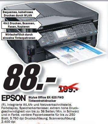 Media Markt Hildesheim: Epson Office BX625FWD (Fax-AiO/Duplex/WLAN) für 88€ (PVG 137€) und andere Drucker