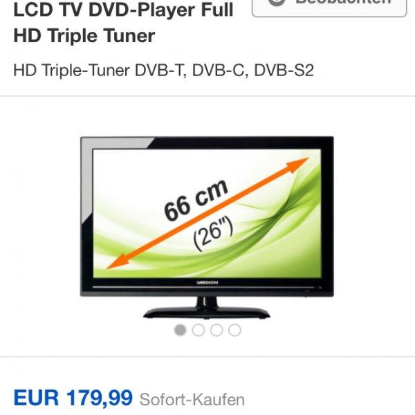 "[Ebay] MEDION LIFE MD 21145 P12092 26""/66cm LED LCD TV DVD-Player Full HD Triple Tuner  Beobachten"