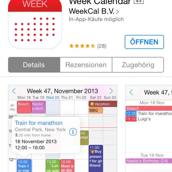 Week Calendar HD ios free statt 3,59€
