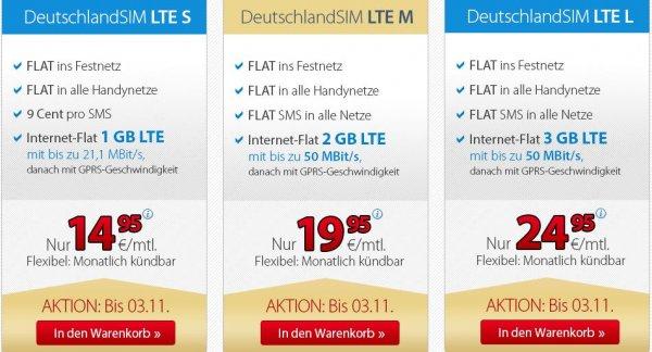LTE sim only -  ohne Vertragslaufzeit (1Monat) ; dt.-sim (verschiedene Varianten/ Preise 14,95/19,95/24,95) O2 Netz, ggf. Anschlussgebühr