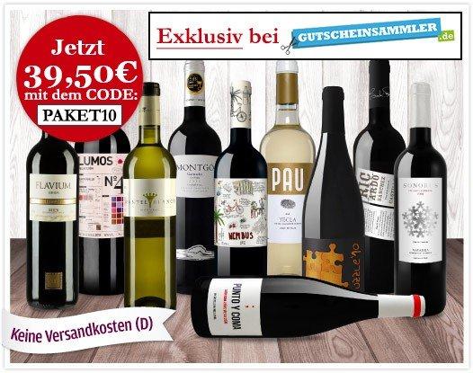[vinos.de] 50% Rabatt für 10 Weine durch Gutscheinsammler Aktion + Gutscheincode (VSK frei)