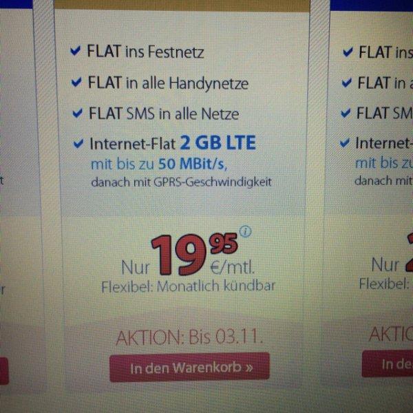 DeutschlandSIM LTE M Allnet-Flat mit 2GB nur 19,95€ monatlich kündbar