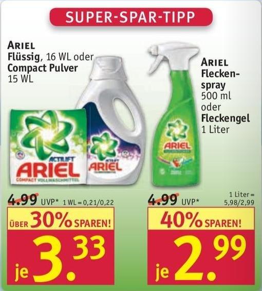 [ROSSMANN] Ariel Flüssig (16 WL) oder Pulver (15 WL) für 2,33 €