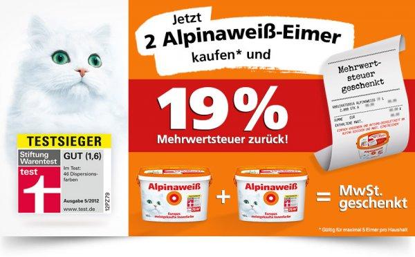 2 Eimer (16l) Alpinaweiß mit Katze  @Hagebau  59,90€ - 19% Mwst  =  48,52€