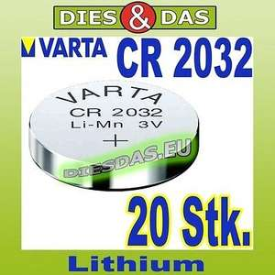 20 x Varta Knofpzelle CR 2032 Alkaline 3,0 V  5,39€ incl. Versand bei Ebay