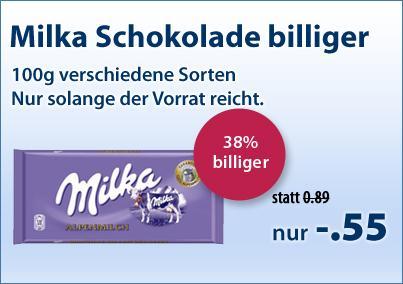 [Schlecker] Milka 100g Schokolade je 0,55€ / 28 Tafeln für 12,39€ (je 0,44€)