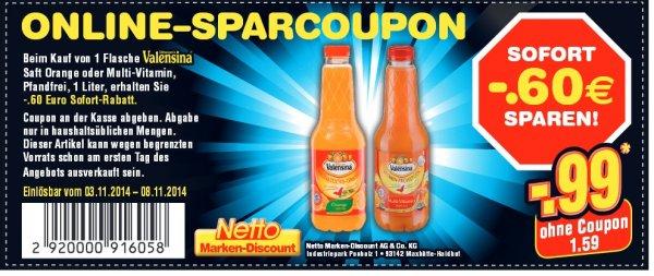 Netto Marken-Discount: Valensina für 99 cent via Coupon