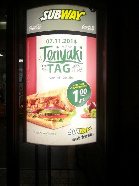 [Lokal Leipzig] Subway - 15 cm Chicken Teriyaki für 1€ am 07.11.