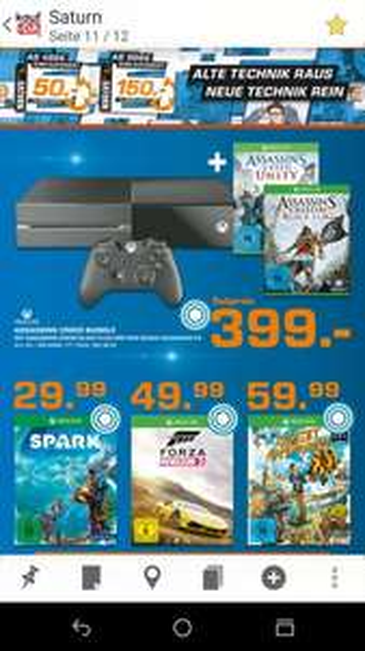 [Saturn Prospekt] XBOX One mit Assassins Creed Unity + Assassins Creed IV Black Flag für 399€