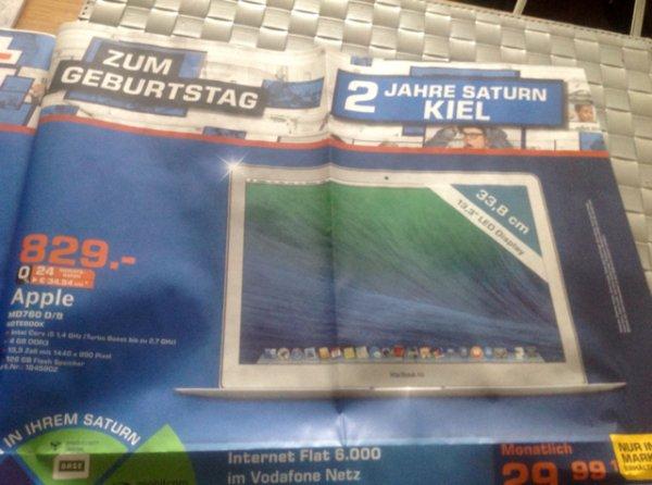 """Apple MD760 D/B 128GB 13,3 """" MacBook Air Kiel Saturn Sonntag 13-18Uhr 829€ statt 999€"""