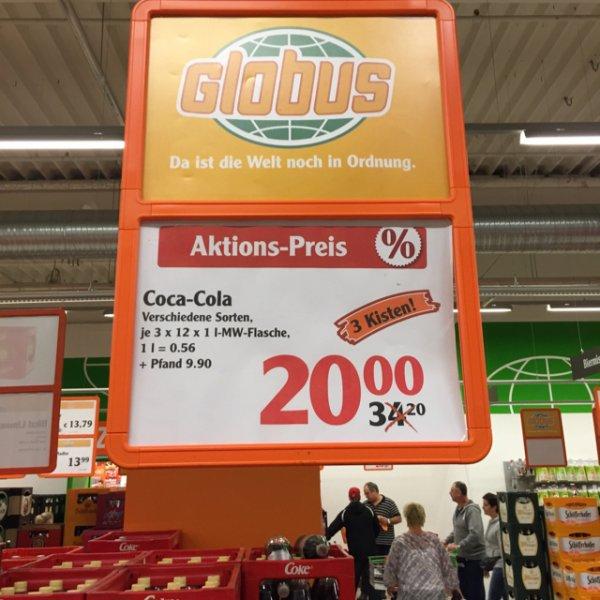 [Lokal] 3 Kisten Coca Cola @ Globus Hockenheim (1 Liter 0,56 €)