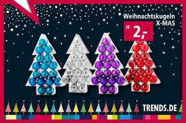 17tlg. Weihnachtskugel-Set X-MAS in 4 versch. Farben für 2€ @ trends.de