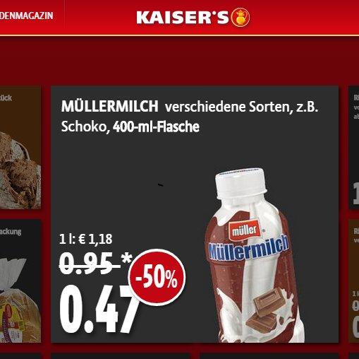 [Kaisers] Müllermilch (400ml Flasche) für 0,47 Euro (ab Montag 3.11.2014)