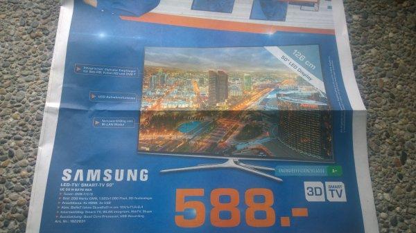 """Saturn Heidelberg: Samsung LED-TV / Smart TV 50"""" für 588,-€  (bzw. 538,-€)"""