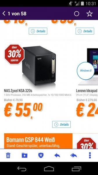 ZyXEL NSA320S @notebooksbilliger.de für 55€ + 2,99€ Versand