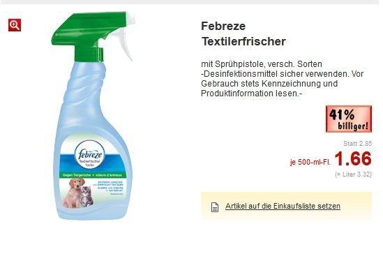 [Kaufland BW?] Febreze Textilerfrischer für 66 Cent statt 2.85