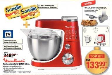 Küchenmaschine Moulinex QA404G inkl. Fleischwolf + Spritzgebäckaufsatz + 2 * 500g Sanella für 127,56 € @ Metro (06.11. - 08.11. mit Gutschein)