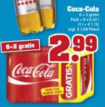Coca Cola 8 x 0,33l = 2,99€ - 37 Cent die Dose - Trinkgut