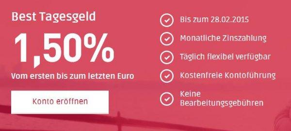 1,50% PSA Direktbank Tagesgeld mit top Angebot