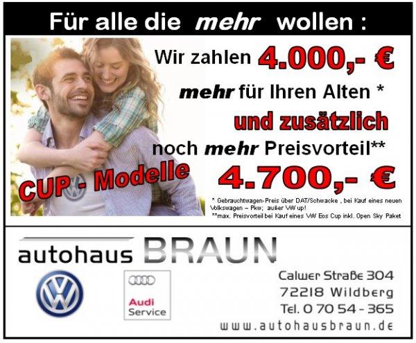 4.000 € über Schwacke für das alte Auto beim Kauf eines neuen VW (außer UP!) (= >30%!!)
