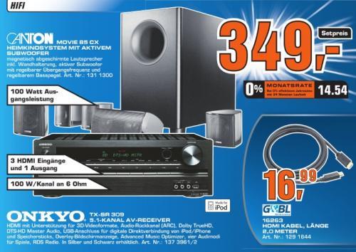 [Saturn bundesweit!] Canton Movie 85 CX 5.1 System mit Onkyo TX-SR309 AV-Receiver im Set!