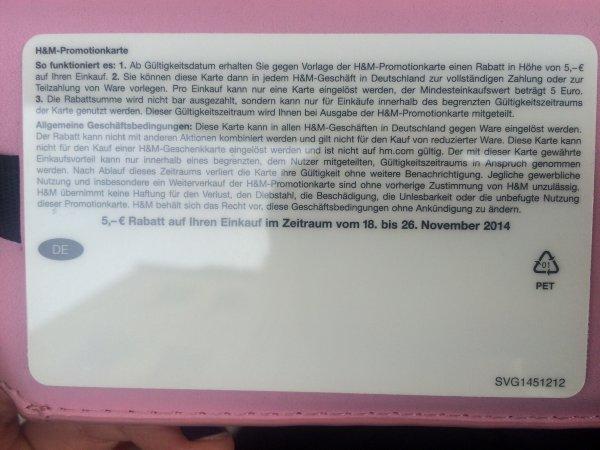 H&M Bundesweit: bei Einkauf ab 25€ - Gutschein über 5€ erhalten (einlösbar vom 18.11.-26.11.2014)