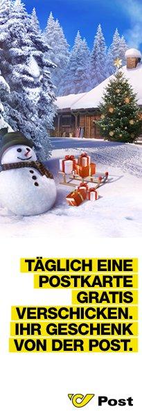 Gratis echte Postkarte zur Weihnachtszeit bei post.at