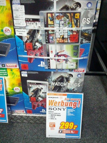 [LOKAL] [Soltau] [Expert] Sony Playstation 3 500 GB rot + 1 Controller + Watch Dogs + GTA 5 + FIFA 15