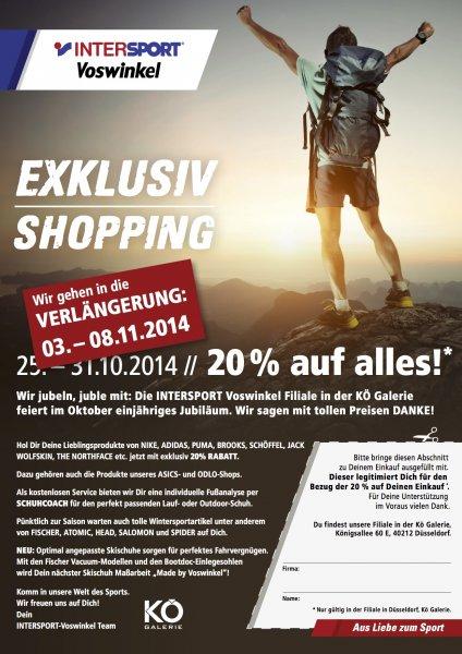 LOKAL Düsseldorf Kö-Galerie Intersport Voswinkel 20% auf alles! Bis 08.11.2014