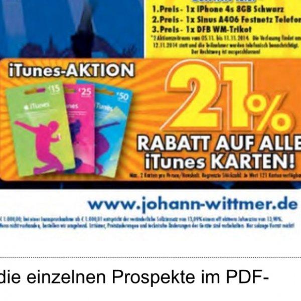 21% auf ITunes Karten [Lokal] Johann & Wittmer Ratingen Euronics
