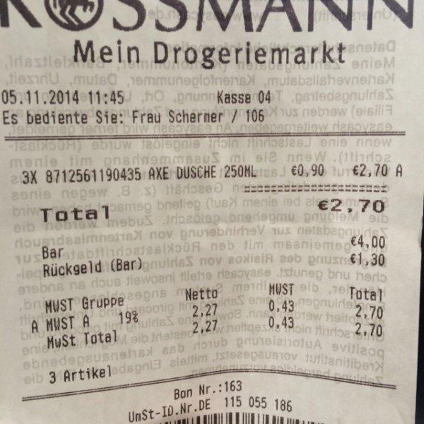 (Rossmann Paderborn) Axe Duschgel (Peace) für 90 Cents
