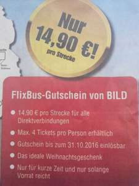 Flixbus Gutscheine für 14,90 Euro quer durch Deutschland alle Strecken