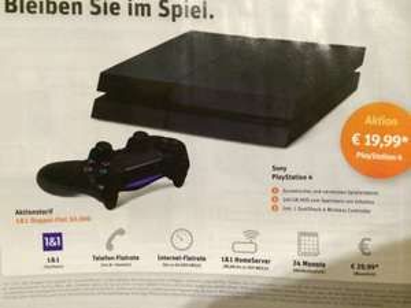 Playstation 4 ab 19,99€ + 1&1 DSL 50k