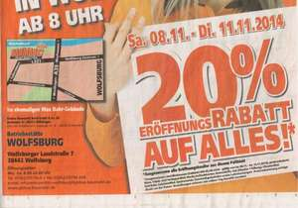 20% Neueröffnung Globus Baumarkt Wolfsburg vom 08.11-11.11