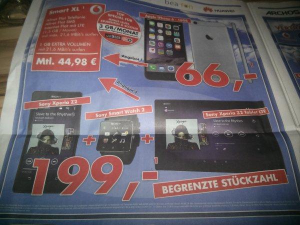 Ludwigshafen evtl auch Bundesweit Hirsch und Ille: Xperia Z2 + Smartwatch 2 + Xperia Z2 Tablet Lte + Vodafone Smart XL