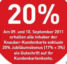 Offline Bonn und Umgebung: 20% Gutschrift auf Kundenkonto bei Knauber Freizeitmärkten