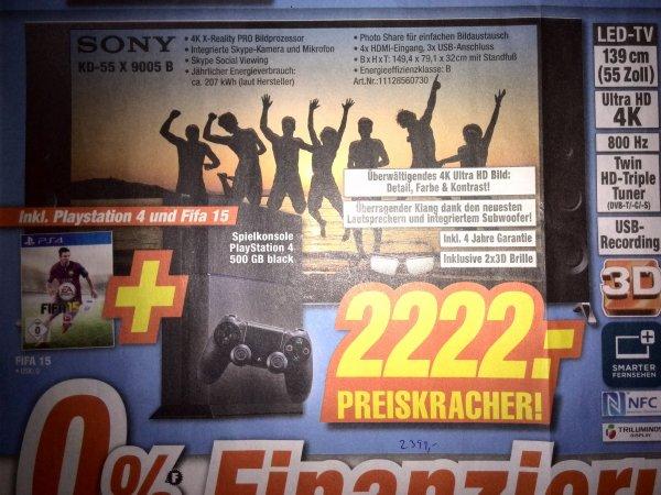 [Lokal] Sony KD-55X9005B + PS4 500GB + FIFA 15 bei Expert in Dinslaken, Neuss, Simmerath, Dormagen und Kamp-Lintfort