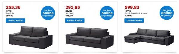 """(online) IKEA Kivik 2er, 3er oder 3er mit Recamiere inkl. Bezug """"Dansbo"""" dunkelgrau"""