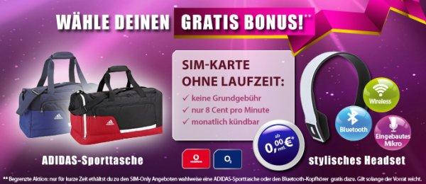 Telco 8 im Vodafone Netz, mtl. kündbar, keine Grundgebühr + Adidas Sporttasche / Bluetooth Kopfhörer