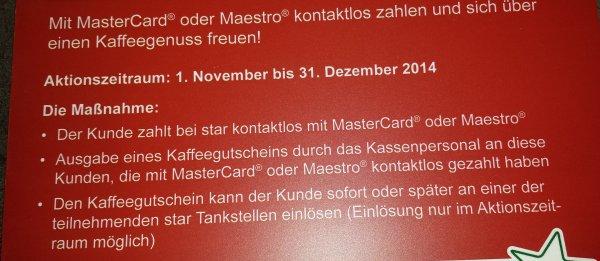 Star Tankstelle: Gratis Kaffee beim Bezahlen mit MasterCard/Maestro Kontaktlos