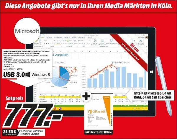 [lokal Köln] Surface 3 Pro i3 64GB inkl. MS Office 365 Personal bei Mediamarkt für € 777,-