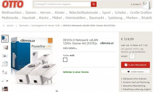 DEVOLO dLAN 1200+ Starter Kit bei Otto.de dank Gutschein 114,99 Euro