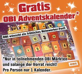 Offline: Gratis Obi Schokoladen-Adventskalender