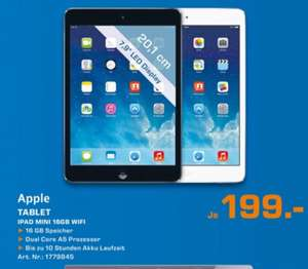 [Saturn Wuppertal Elberfeld] Apple iPad mini 16GB Wifi schwarz oder weiß für je 199€