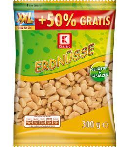Erdnüsse XXL-Pack für 55cent (50% mehr als in den 200g-Dosen) diese Woche bei Kaufland